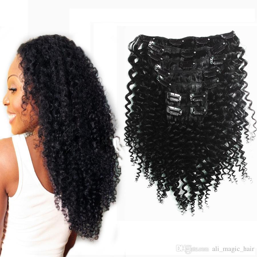 Pince frisée bouclée Afro Kinky cheveux remy dans les extensions de cheveux humains pour les femmes noires 7 Pcs / set 100g Nautral couleur 10 couleurs disponibles
