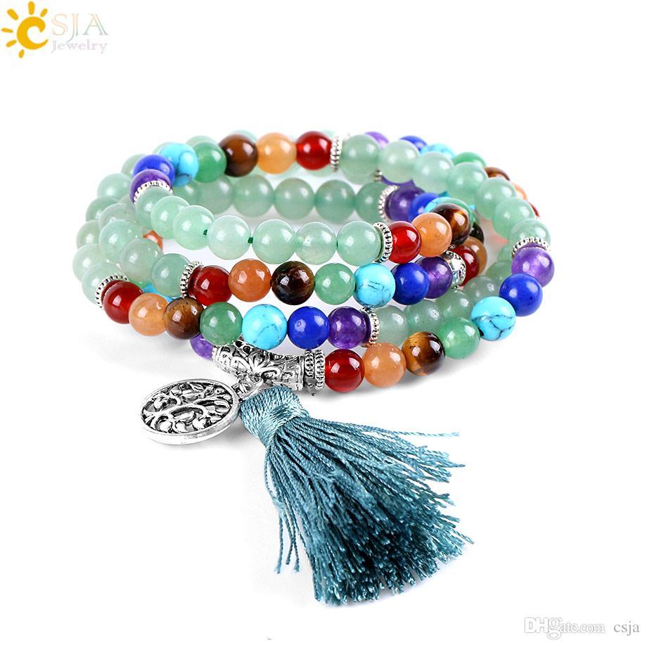 CSJA 108 Natural Green Aventurine Jade Handmade Beads Jewelry Long 7 Chakra Healing Point Balance Gemstone Stone Beaded Mala Bracelet E658
