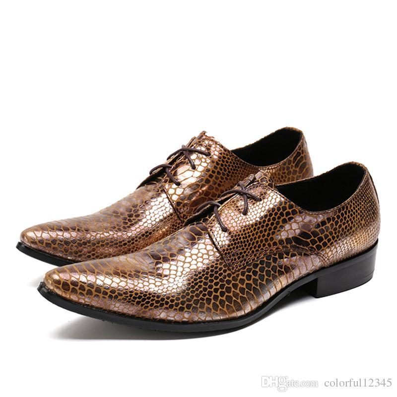 Yeni Erkekler Elbise Ayakkabı Lace up Snakeskin Desen Hakiki Deri Düğün Ayakkabı Erkekler Ofis Takım Elbise Ayakkabı