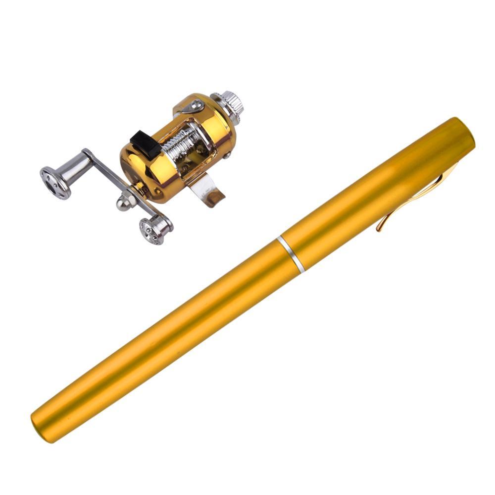 1 unid Mini Portátil de Aleación de Aluminio Pocket Pen Shape Peces caña de pescar caña de pescar con carrete envío gratis