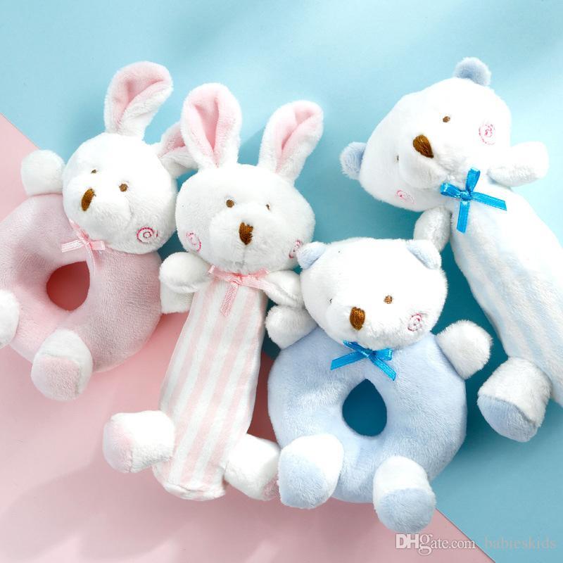 2Pcs/Set Developing Toys Baby Hanging Toys Baby Rabbit Bear Rattles Plush Toys Crib Ring Bed Bell Playing Toy Kids Gift Soft Doll