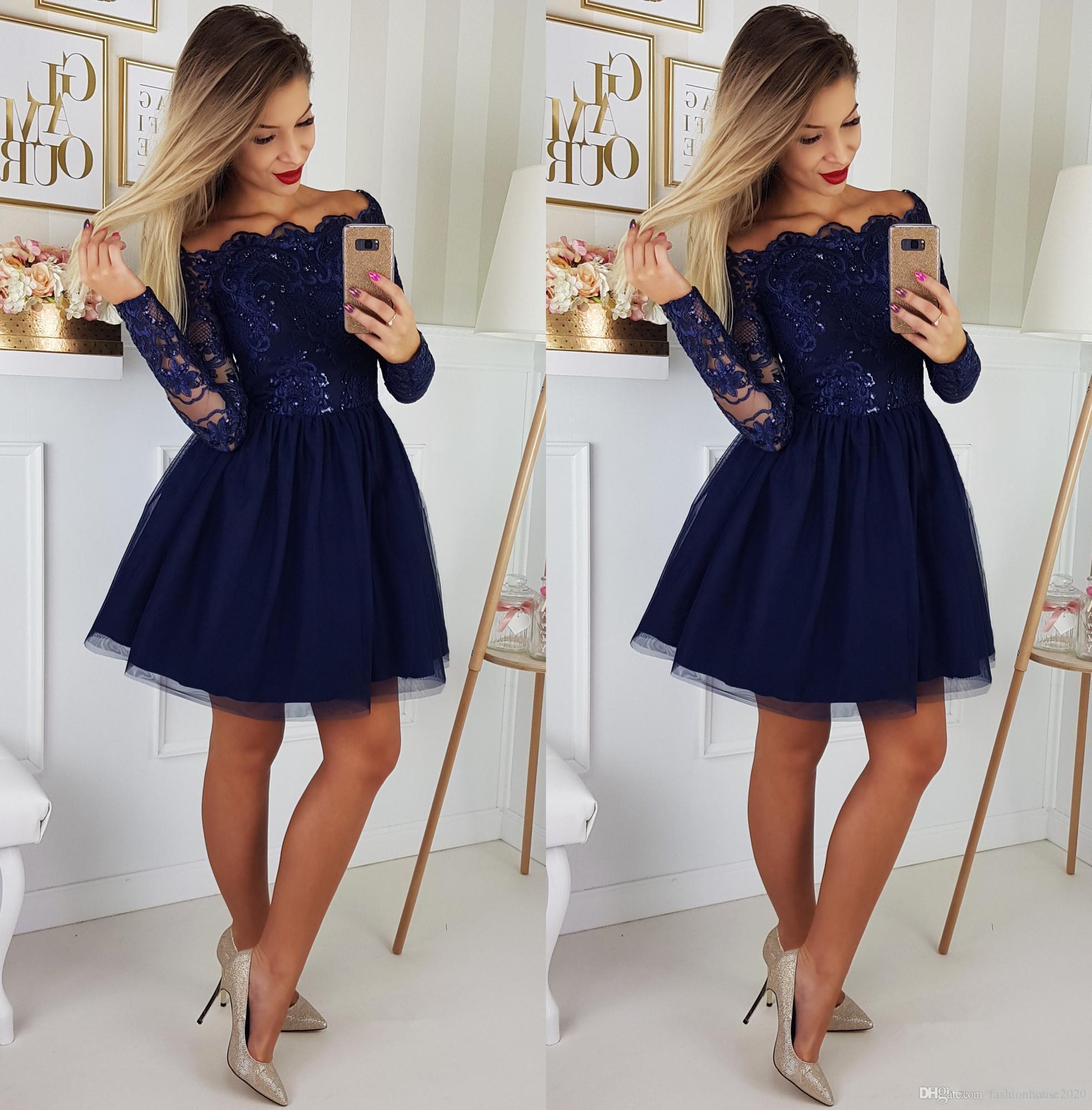 2019 Nouveau Bleu Royal Court Mini Robes De Cocktail Dentelle Appliques  Manches Longues Hors Épaule Une