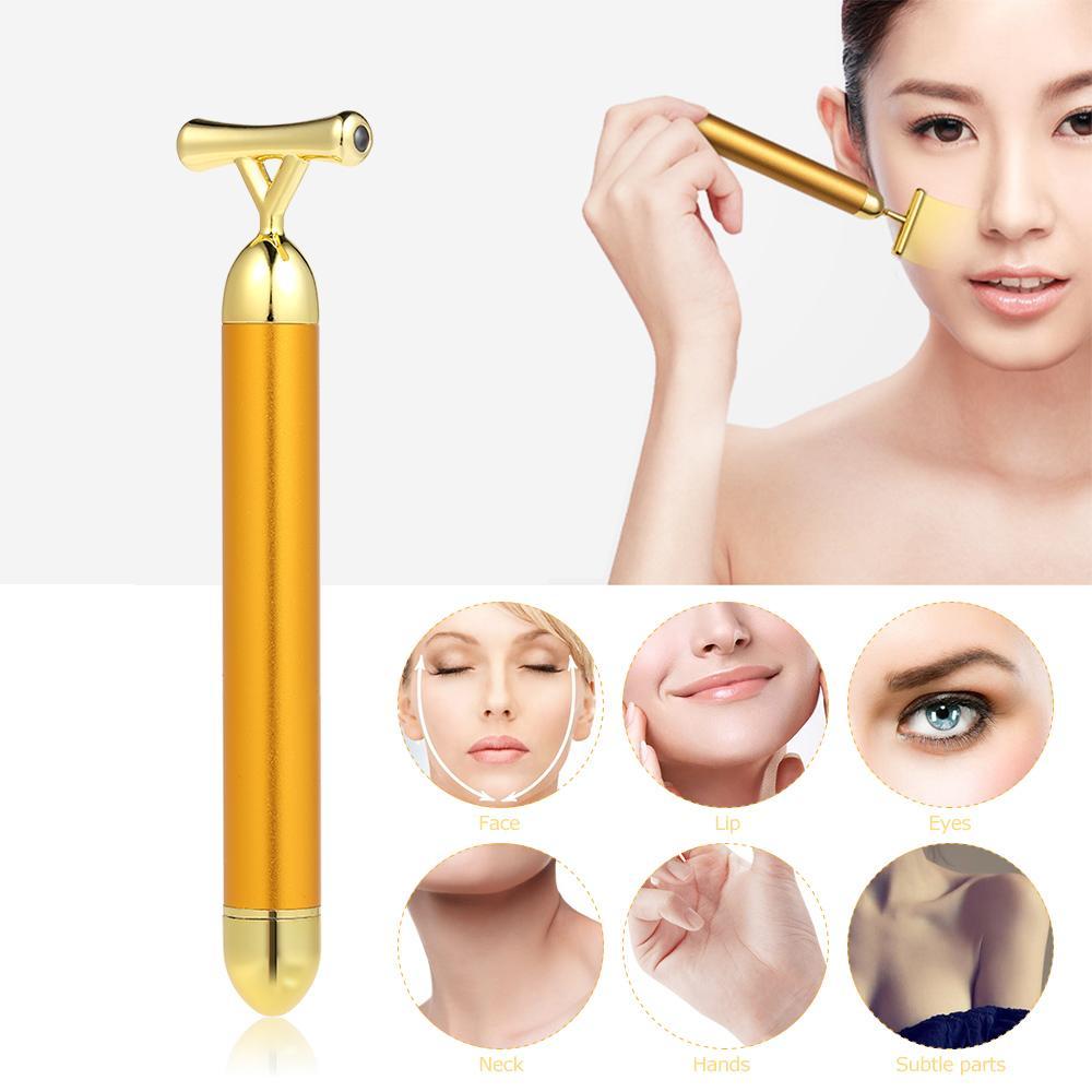 Alta Freqüência Vibração 24 K Banhado A Ouro Energia Beleza Bar Massageador Anti-envelhecimento Rosto Olho Rugas Eraser Firming Roller Vara