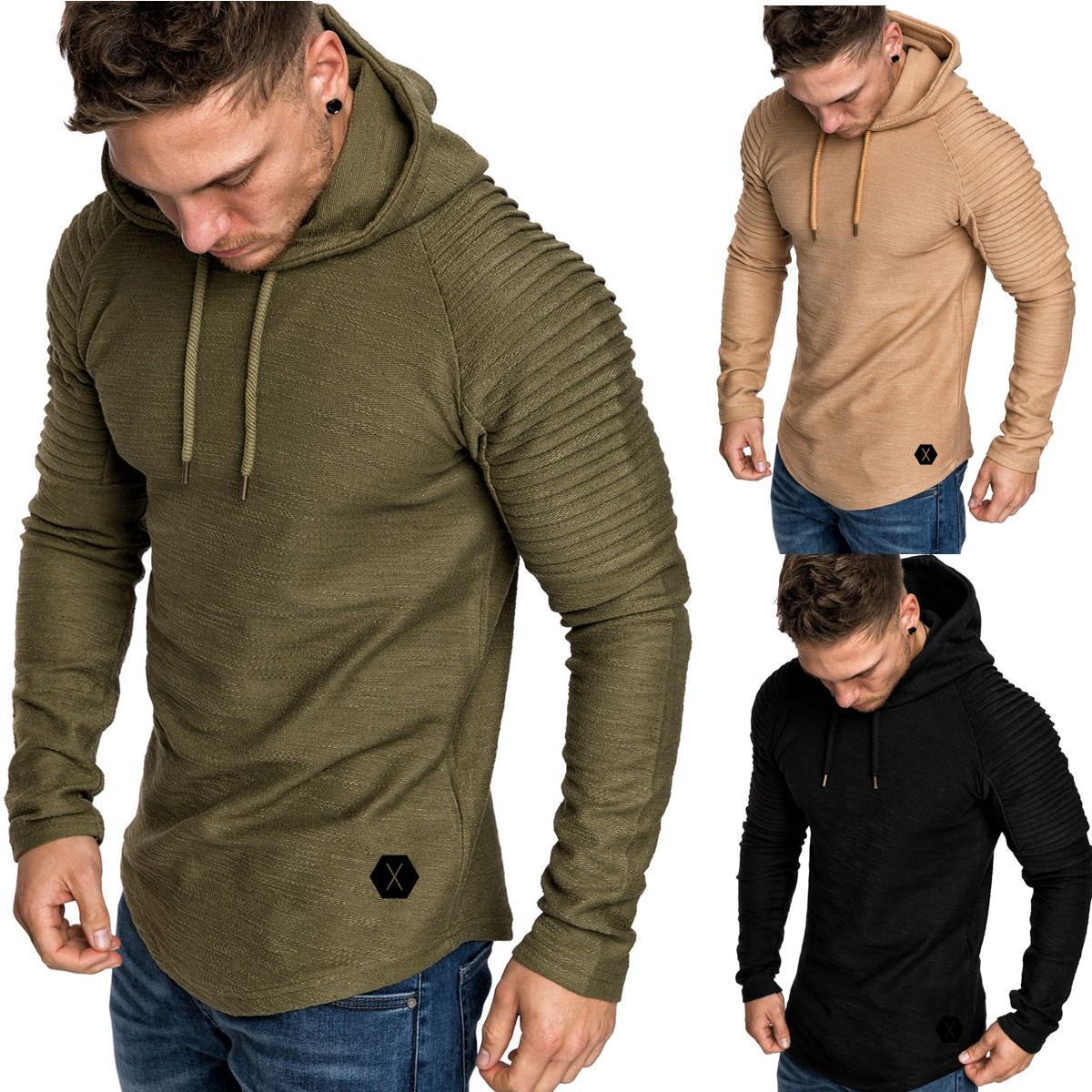 Men Casual Muscle Gym Hoodie Long Sleeve Slim Fit Top Autumn Pre-Fall Sweatshirt