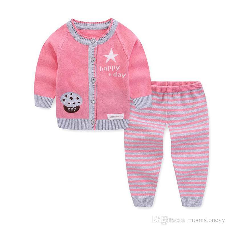 новорожденный малыш мальчик девочка набор шерсть вязаный хлопок свитер одежда устанавливает младенческой теплый мультфильм овец пуловер брюки набор
