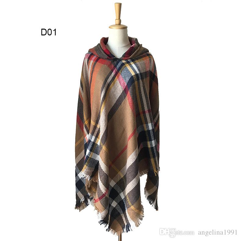 High Quality Cashmere Shawl Scarf Fashion Irregular Hooded Plaid Pullover Shawl Poncho Winter Imitation Pashmina Tassel Shawl