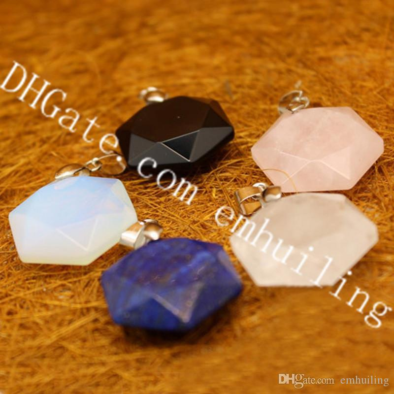 10Pcs Carved Jewish Star of David 28mm*25mm*9mm Pendant Small Natural Lapis Rock Crystal Gemstone Magen Star Pendant Jewelry Making Supplies
