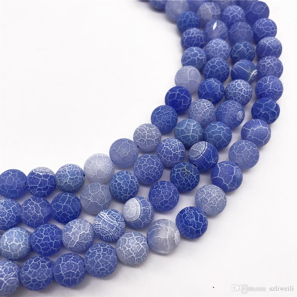 bricolage e fai da te Perline di agata a forma sferica in colore blu per pizzi bracciali gioielli pietra 6mm 20 St/ück da 8 mm 6 mm blu bianco