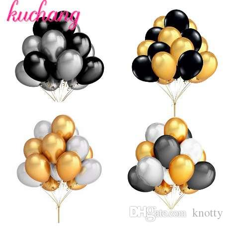 30 шт. / лот 10 дюймов жемчуг золото серебро черный белый латексные шары день рождения свадьба Dec гелий Глобус дети подарки поставки игрушки