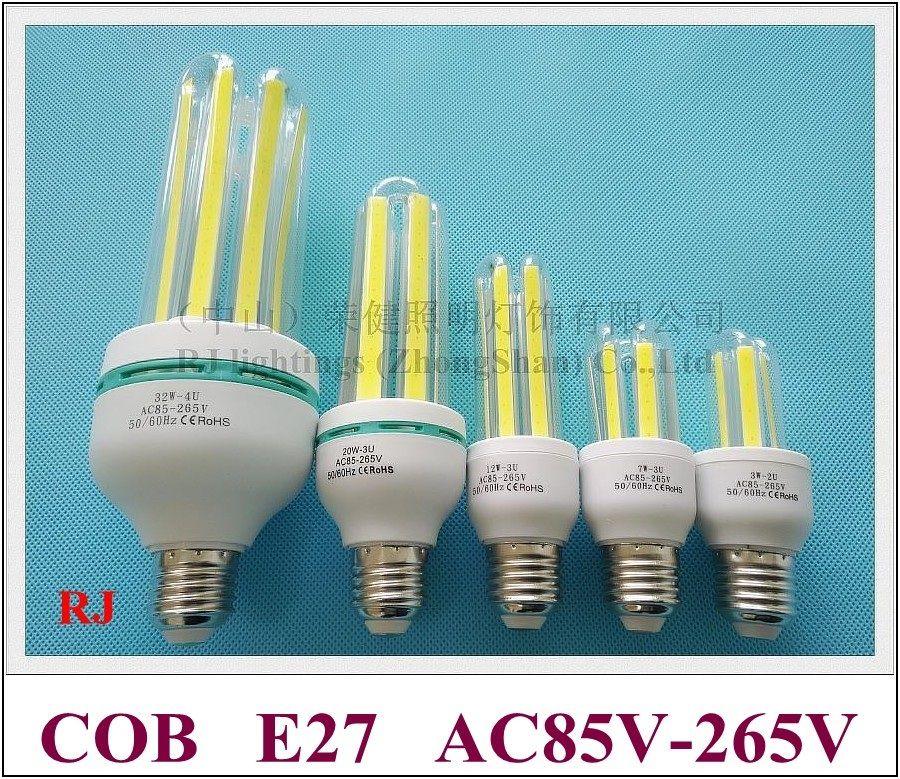 Cob de milho LED Bulbo E27 E27 Led Lâmpada de milho Lâmpada de luz 3W 7W 12W 20W 32W AC85V-265V Entrada E27 U estilo