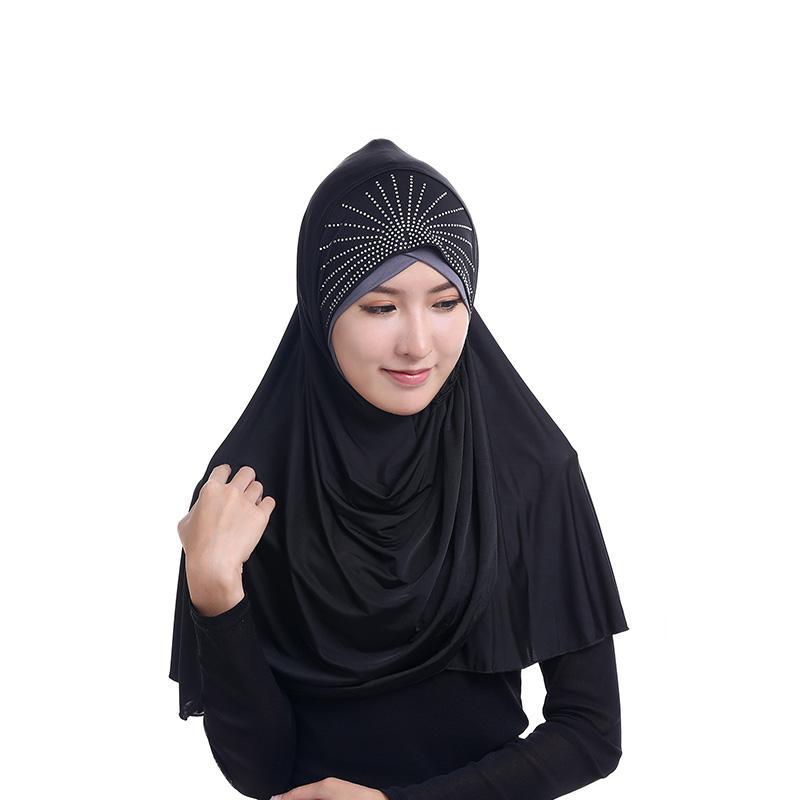 Beads Cachecol para As Mulheres Muçulmanas Longo Hijabs Seda Gelo Oriente Médio Turbante Cap Hijab Beading Lenço Nova Moda Hoodie Turbante Abaya Dubai