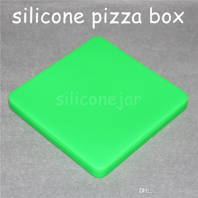 1 pc 200 ml antiadhésif Contenants De Cire Silicone Pizza Concentrate Silicon Carré Conteneur Grands Pots Plats Tapis Dab Dabber Outil Extra Large Jar