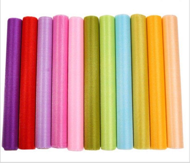 12 colores moda cinta rollo organza hilo de tul silla cubiertas para bodas telón de fondo decoraciones cortinas suministros 50 m / roll