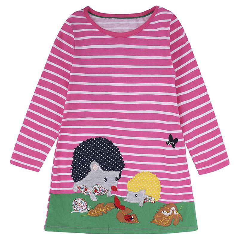 Vestidos para niñas Ropa para niñas bebés Vestido de jersey a rayas Apliques de animales Niños Vestidos para niños Disfraces para niñas Vestido de niños