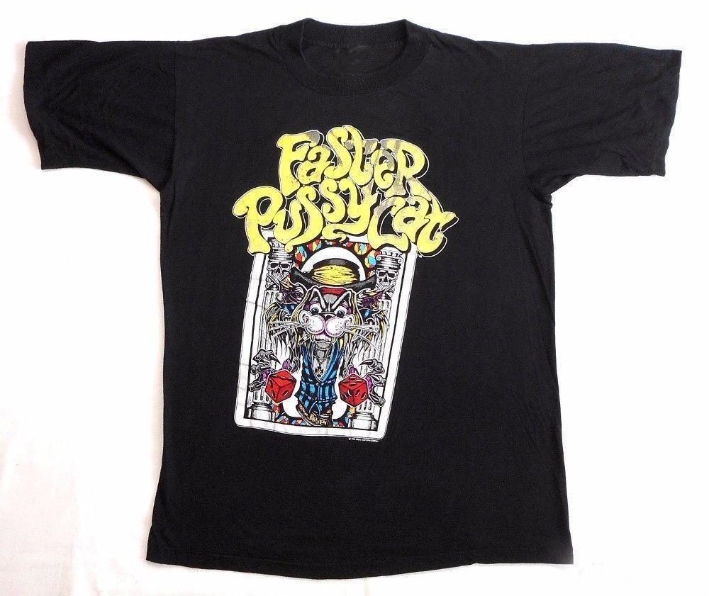 FASTER PUSSYCAT Ristampa VTG T Shirt 80's Tour Concert 1989 GLAM SLEAZE METAL