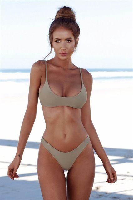 Compre Bikini De Las Muchachas 2018 Mujeres Del Traje De Baño Del Triángulo Sólido Traje De Baño Xxl Push Up Bikini Verano Sexy Bathingsuit Beachwear