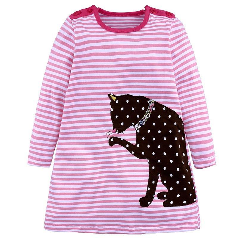 Vestido de niña de niños de dibujos animados gato bordado ropa para niños niñas raya rosa Vestidos de los niños para niñas ropa Princesa traje