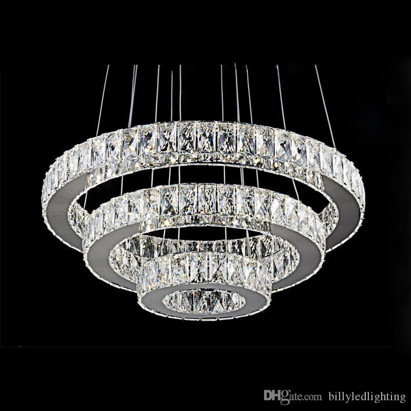 Modern stainless steel Mirror K9 crystal pendant light for living room dining room bedroom Factory price