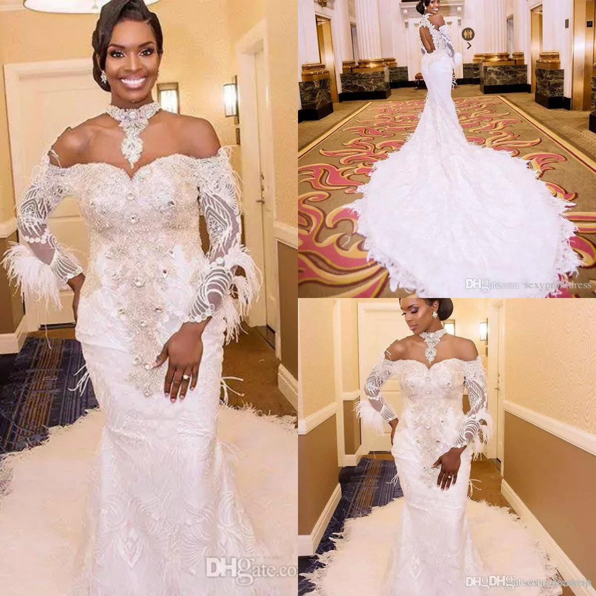 Luxury Mermaid Wedding Dresses Off The Shoulder High Neck Lace Appliques Bling Crystal Plus Size Wedding Dress Long Sleeve Bridal Gowns Mermaid Wedding Dress Lace Mermaids Wedding Dress From Dressvip 354 46 Dhgate Com