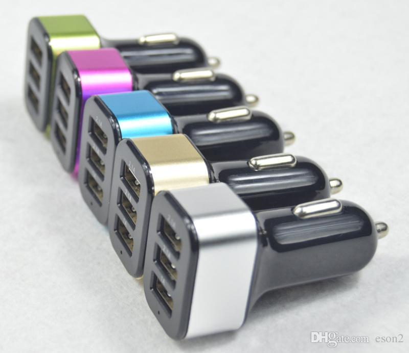 3 portas USB Car Charger Mini Traver Adaptador Universal Metal de alumínio Car plug Triplo USB Carregador Para Samsung Nota 8 S8 Além disso, a Huawei