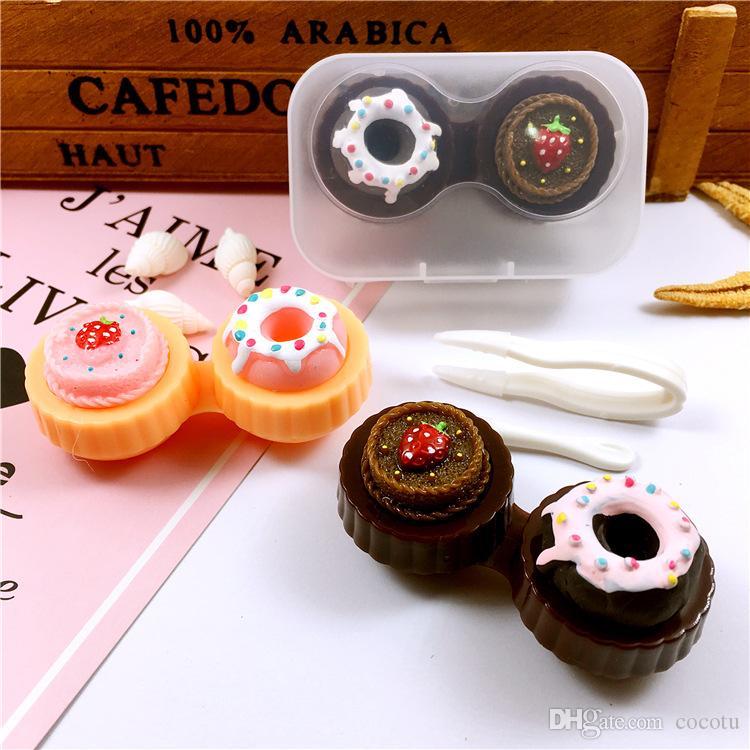 1 adet Karikatür Kontakt Lens Durumda Dondurma Kek Temas Lense Kutusu Taşınabilir Seyahat Gözlük Durumda Hediyeler için 6 Renkler