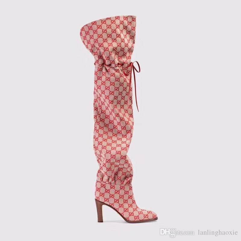 Chic Branded Women Hibiscus Red Beige Canvas Over-the-knee Boot Designer Leather 7.5cm High Heel Boots