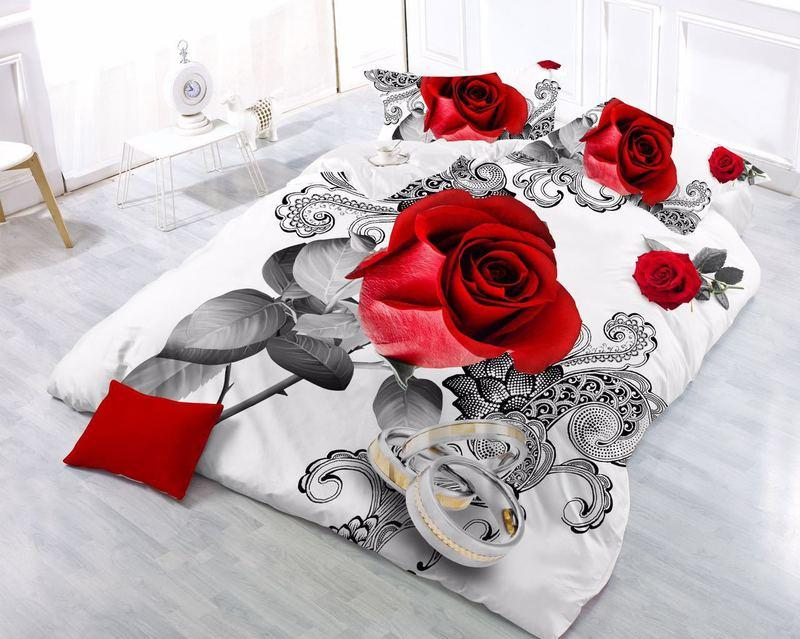 Hot Sale Butterfly red Rose Romantic 3D Bedding Sets Duvet Cover Bedsheet Pillowcase 4pcs King Nice Soft Bedclothes bed linens