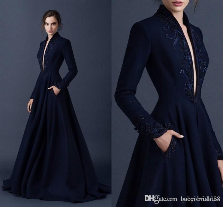 Платья выпускного вечера Темно-синий сатин вечерние платья вышивка Paolo Sebastian платья на заказ из бисера формальная вечеринка носить мяч платья погружена v ne