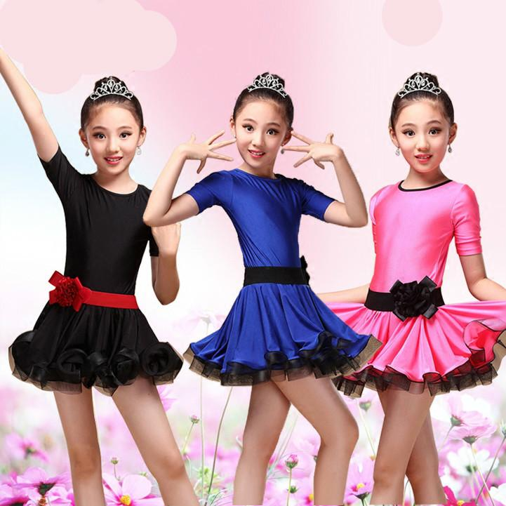 Kids Latin Dress Costume children short Sleeve Ballroom Dance spandex For Girls Salsa Rumba Cha Cha Samba Tango ruffle skirt