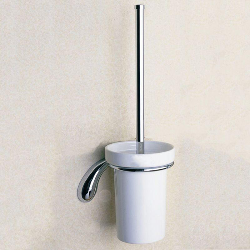 CUP BRUSH BATHROOM  TOILET BRUSH SET BRASS MIRROR CHROME NO-CORROSION HOLDER