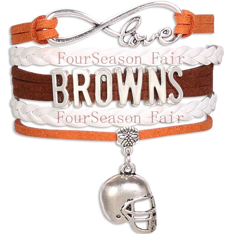 Custom -Infinity Love Browns Football Bracelet Brown State Sport Team Wrap Braided Leather Adjustable Bracelet Bangles