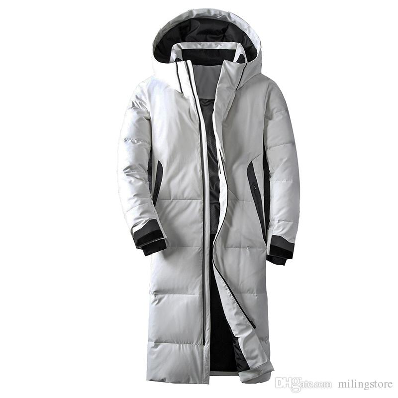 clothing winter jacket men white color duck down long coat goose feather thick casual parkas hoodies male jackets
