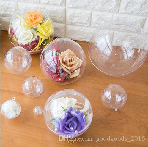 Christmas Ornament Ball Plastic Round Hollow Flower Preservation Holder Transparent Candy Box New Year Toys Hanging Gift c638