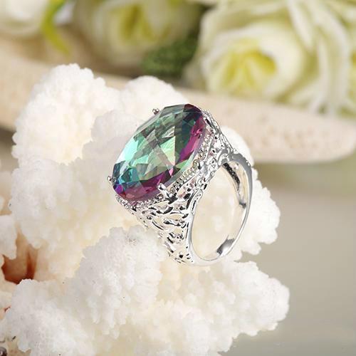 Yeni Liste Son Tarzı Yüzük 925 Ayar Gümüş Oval Gökkuşağı Yangın Mistik Topaz Mücevher Gümüş Çift Düğün Taş Yüzükler Setleri 10 ADET