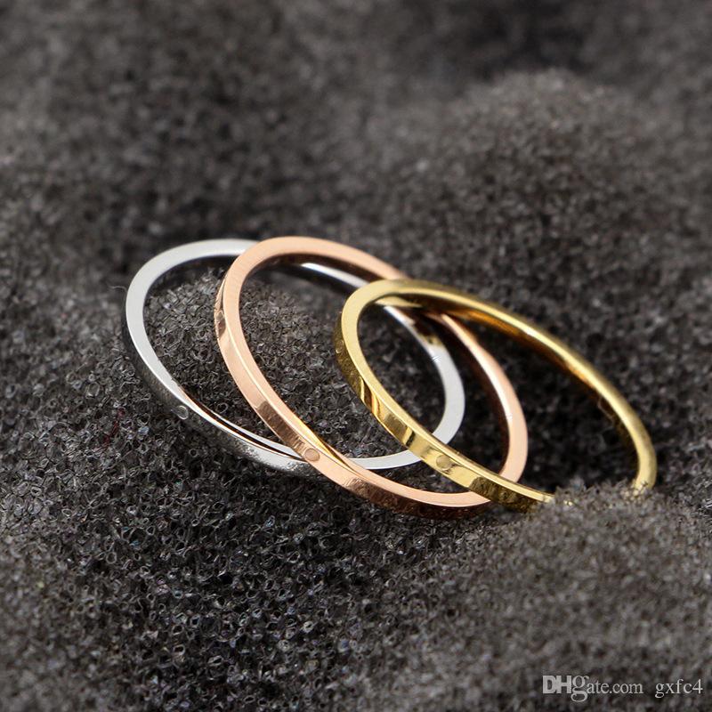 ثلاثة ألوان الساخن بيع النسخة الكورية من اثنين غرامة غرامة السلس المسمار المطبوعة البنصر خاتم الإناث المجوهرات