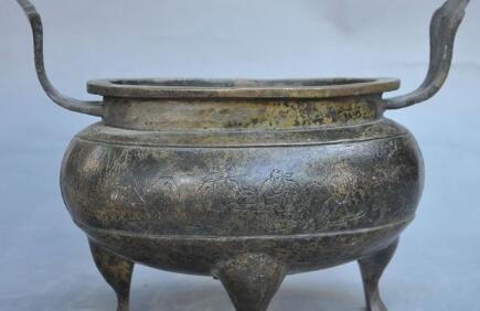 """8 """"을 표시 오래 된 중국 궁전 청동 사원 joss 삼각대 동상 향 버너 향로"""