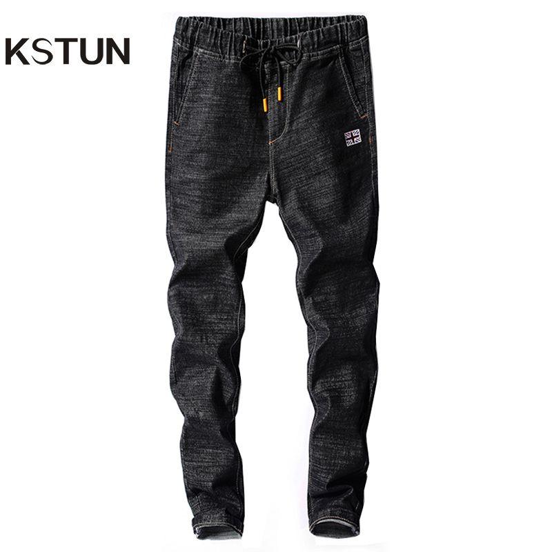 Kstun Herren Jeans Japan Style Frühling Herbst Elastische Taille Schwarz Schlank Kordelzug Schwarz Jean Mann Lässige Jeanshosen Jogger Homme