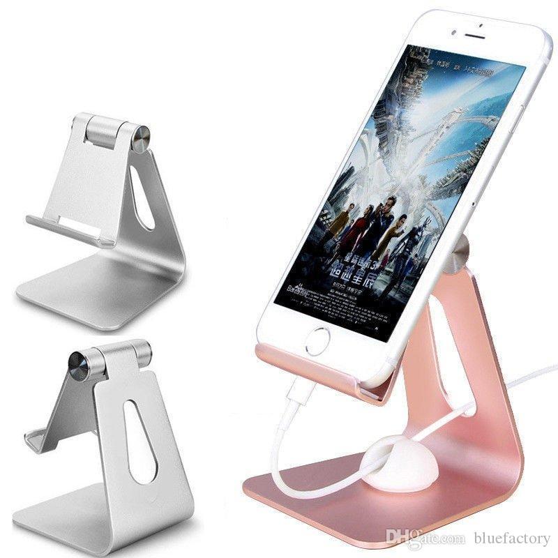 Aluminum Desk Phone Mount Holder Hinge Adjustable Metal Tablet Holder Stand Universal Desktop Holder For iphone X Samsung S9 Tablet iPad