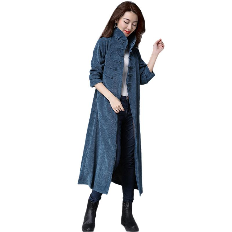 Autumn Winter Women Trench 2018 New Fashion Medium long loose solid color corduroy belt buckle Slim Female Windbreaker SQ501