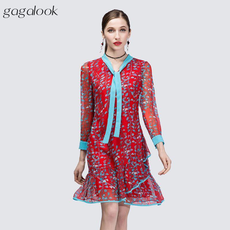 gagalook Red Print A Line Dress Donna Office Work Contrast Papillon Neck Cuff Ruffle Hem Plus Size Midi Robe Femme 2018 DA353K