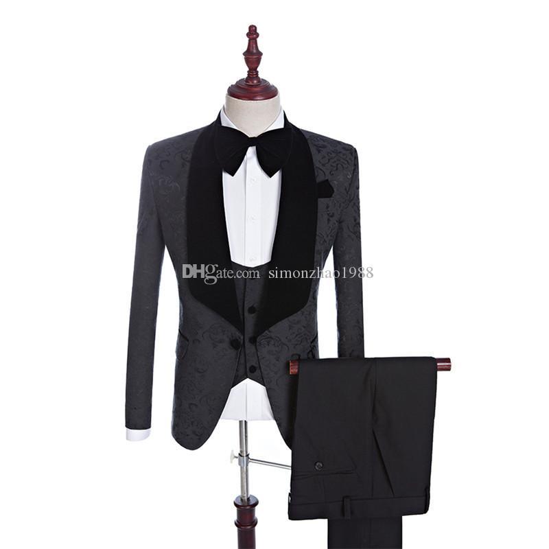 (veste + pantalon + veste + arc) Hommes Costume de mariage classique Homme Noir Blazers Floral Costumes Slim Fit pour les hommes Smokings Parti Groom formel Costume
