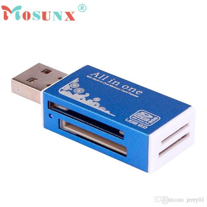 Venta caliente Mosunx Lector de tarjetas Tiny Blue USB 2.0 Todo en 1 Adaptador de lector de tarjetas de memoria múltiple para Micro SD SDHC TF M2 MMC Regalos 1 pc