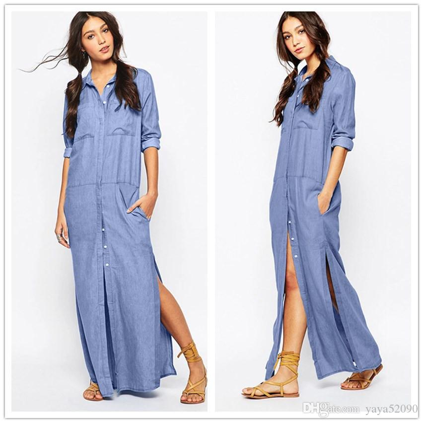 Vintage Long Denim Shirt Dress Womens Lapel Side High Split Straight Jeans  Maxi Dress Single Breasted Front Pocket Button Casual Plus Size White ...