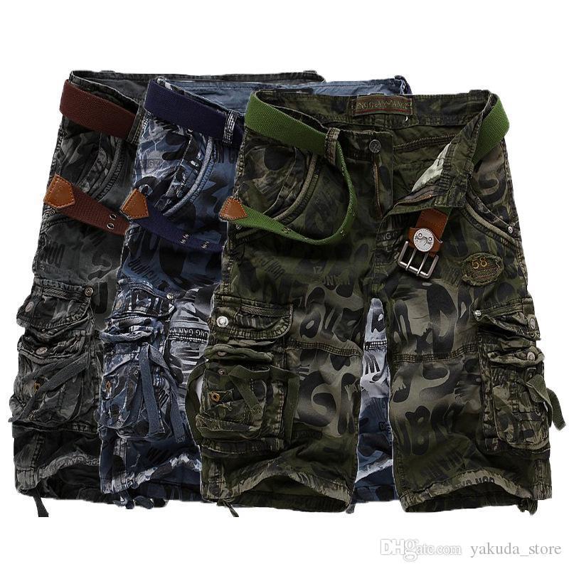 Shorts de Camuflagem dos homens Dropshipping Plus Size 29-40 Verão Calções de Carga Do Exército Praia Calças de Treino Calças Curtas Soltas Calças Casuais NENHUM CORREIO