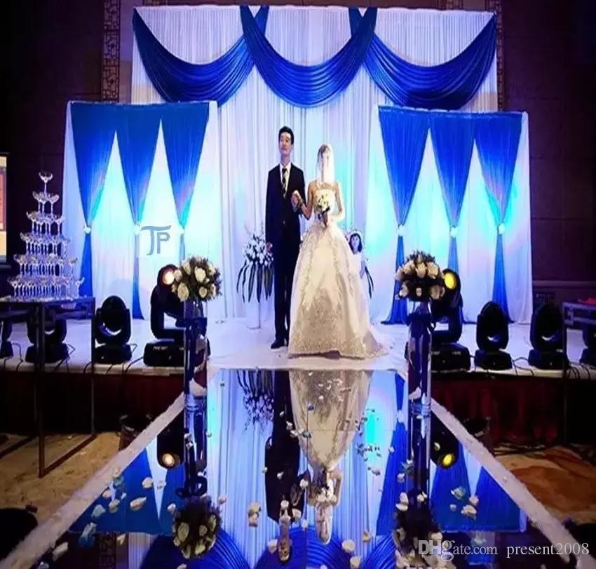 Centrotavola di lusso per matrimoni Aisle Runner Mirror Tappeti per la decorazione della stazione T di nozze Oro argento Viola Rosa Colore rosso Disponibile