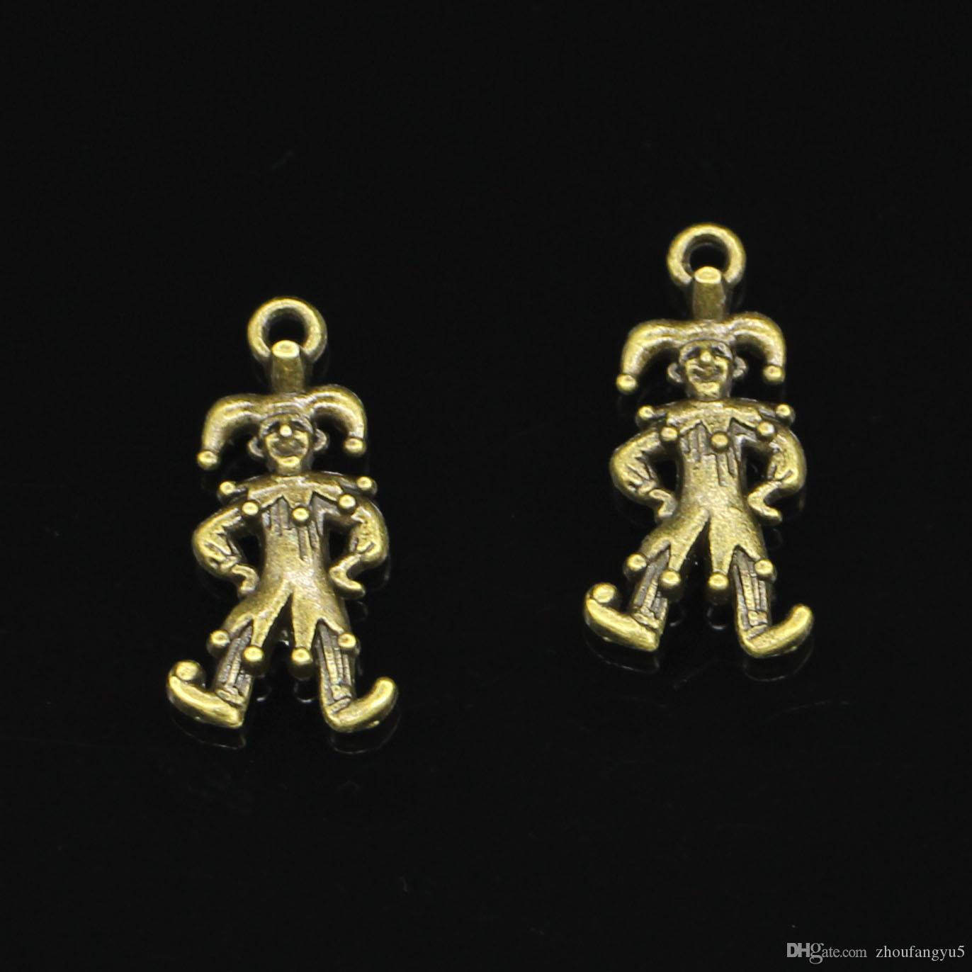 63pcs Zinc Alloy Charms Antique Bronze Plated clown joker jester Charms for Jewelry Making DIY Handmade Pendants 25*12mm