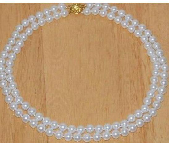 Двойные пряди 8-9мм Южное море белый жемчуг ожерелье 18 дюймов 19 дюймов 14k Золотая Застежка