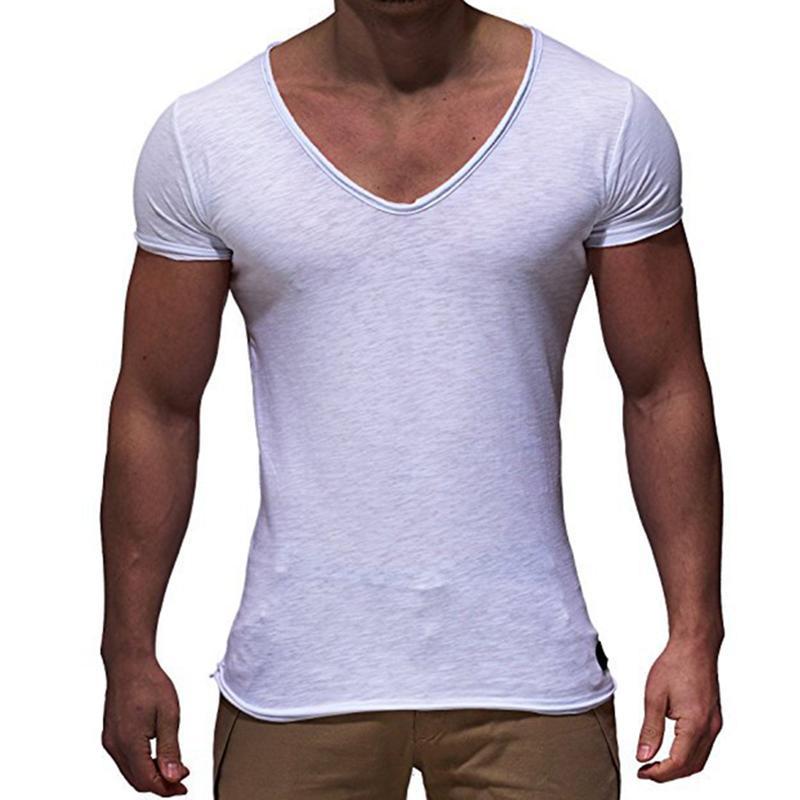 Maglietta basic da uomo Tinta unita scollo a V Slim Fit Moda maschile Maglietta manica corta Top Tees 2018 Marca T-shirt da uomo Vendita calda