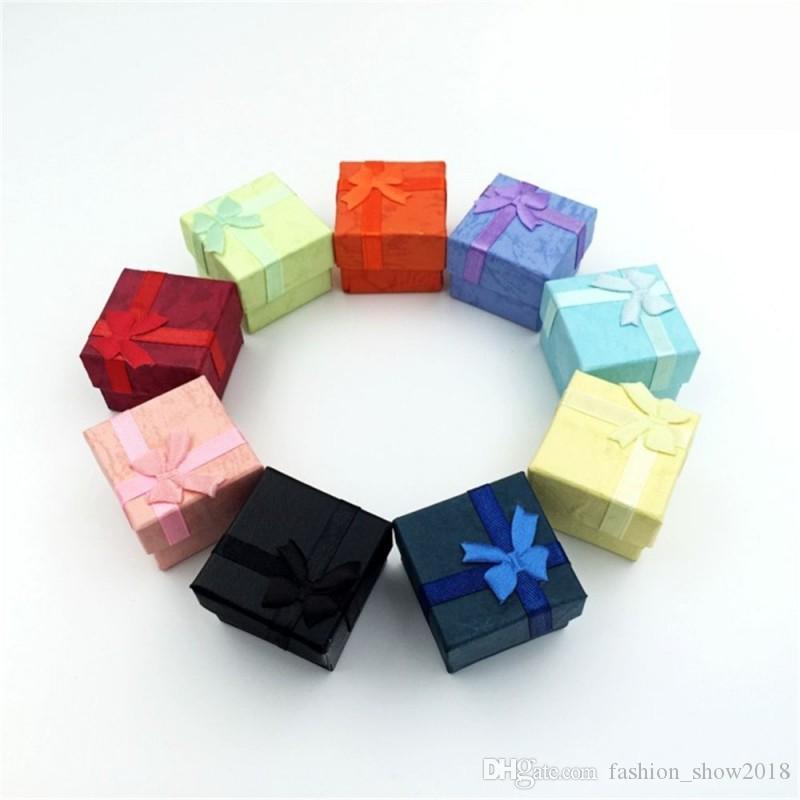 ورقة BOWKNOT تغليف المجوهرات العرض هدية صناديق 4X4X3cm لطيف مربع أحمر وردي أرجواني أزرق Earrrings صناديق الدائري بالجملة