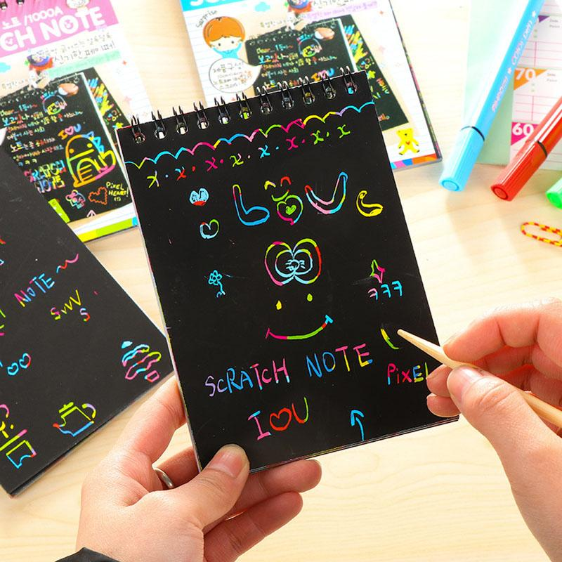 Acheter Diy Mignon Kawaii Bobine Graffiti Carnet Noir Page Magie Dessin Livre Peinture Bloc Notes Pour Enfants Bloc Notes Papeterie Cadeau De 5 91 Du